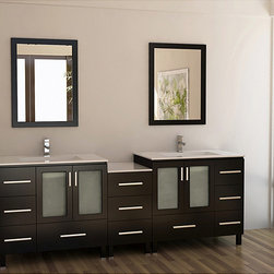 Design Element - Design Element Galatian 88-inch Espresso Double Sink Bathroom Vanity Set - Equipped with 11 total drawers and two double door cabinets,this oversize double sink vanity provides style and functionality. With a rich espresso finish and satin nickel hardware,this vanity set features two matching framed mirrors.