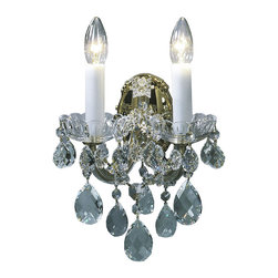 """Inviting Home - Maria Theresa Crystal Sconce (Premium Crystal) - Maria Theresa style crystal sconce with cut crystal trimmings; 9""""W x 8""""D x 13""""H; assembly required; 2 light Maria Theresa style crystal sconce with hand-molded arms and cut crystal trimmings; all metal parts have gold finish; genuine Czech crystal; ready to ship in 2 to 3 weeks; This wall sconce is a part of Maria Theresa Collection. At their start the chandeliers bearing the name of Maria Theresa were made on the occasion of the Empress's coronation as queen of Bohemia in 1743. This fact is hidden in the shape of these lighting fixtures reminiscent of the royal crown. Their characteristic feature is the arms' typical flat surface clad with glass bars. The bars are fixed to the arms by glass rosettes and beads with dangling cut crystal chandelier trimmings. These ravishing fixtures were inspired by a chandelier made for Maria Theresa in Bohemia in the mid 18th century. However not only the empress became fond of it; so did many others who fancied the style and the majestic manners after her. Typical elements are metal arms overlaid with glass bars and decorated with crystal rosettes. Originally the trimming was made of typical flat drops called """"pendles"""". Today trimmings of various shapes are used. Premium crystal. A sumptuous type of chandelier trimmings. Fire of the rainbow spectrum brilliance limpidity glitter and perfect scattering and dispersion of light - these are their main features resulting from precise cutting using electronically controlled machines but also from high quality crystal containing more then 30% of lead. Traditional mastery and the revealed mystery of the glass substance blend together with modern technologies and first-rate design in each of these unique pieces. Chandeliers dressed with these trimmings of exceptional beauty will lend an air of grandeur to the ambiance even of the most prestigious interiors. Every component passes thorough strict internal Quality Control proces"""