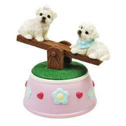 WL - Maltese Puppies Musical See-Saw Figurine with Hearts and Flowers - This gorgeous Maltese Puppies Musical See-Saw Figurine with Hearts and Flowers has the finest details and highest quality you will find anywhere! Maltese Puppies Musical See-Saw Figurine with Hearts and Flowers is truly remarkable.