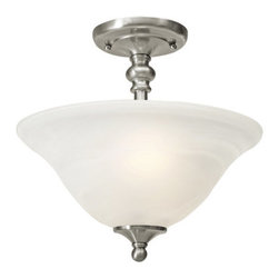 Golden Lighting - Golden Lighting 1264-SF 2 Light Semi Flush Ceiling Fixture from the Grace Collec - Golden Lighting 1264-SF Two Light Ceiling FixtureThe Grace Collection is a artful Transitional style that mingles with a range of color schemes. Available in a brilliant Pewter and Rubbed Bronze finish. The White Marbled Glass creates brighter light. The Grace collection also has metal turning detail on the center column that is fashionable and affordableFeatures: