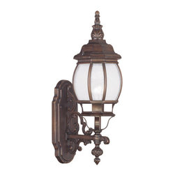 "Livex Lighting - Livex Lighting 7900 Frontenac 21 Inch Tall Outdoor Wall Sconce - Livex Lighting 7900 Frontenac One Light Outdoor Wall SconceShowcasing a regal style, the Frontenac single light 21"" tall bottom mount outdoor wall sconce features intricate scroll work, a tall decorative finial, and beautiful seeded glass that will enhance the appeal of the outside of your home.Livex Lighting 7900 Features:"