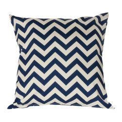HRH Designs - 20x20 Indoor/Outdoor Throw pillows, Navy - 20x20 Indoor/Outdoor Chevron throw pillow