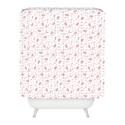 DENY Designs - Jennifer Denty Genevieve Foliage Pink Shower Curtain - Who says bathrooms can't be fun? To get the most bang for your buck, start with an artistic, inventive shower curtain. We've got endless options that will really make your bathroom pop. Heck, your guests may start spending a little extra time in there because of it!