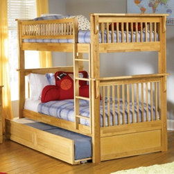 Colorado Bunk bed in Natural Maple by Atlantic Furniture - The Colorado Bunk Bed is the perfect mission-style bunk bed for your children's bedroom. Available in twin-over-twin construction with railings on the top bunk, the sturdy Colorado Bunk Bed is constructed of solid hardwood. Add optional under-bed storage drawers or an optional trundle unit to make the most of under-bed space.