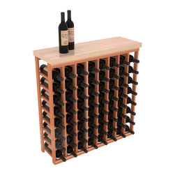"""Tasting Table Wine Rack Kit + Butcher Block Top in Redwood - The quintessential wine cellar bar; this wooden wine rack is a perfect way to create discrete wine storage in shallow areas. Customize with LEDs. Includes a 35"""" culinary grade Butcher's Block top. Marble and granite are also popular methods to create intimate tasting tables. We build this rack to our industry leading standards and your satisfaction is guaranteed."""