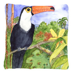 Caroline's Treasures - Bird - Toucan Fabric Decorative Pillow - Indoor or Outdoor pillow made of a heavy weight canvas. Has the feel of Sunbrella fabric. 14 inch x 14 inch 100% Polyester Fabric pillow Sham with pillow form. This pillow is made from our new canvas type fabric can be used Indoor or outdoor. Fade resistant, stain resistant and Machine washable.