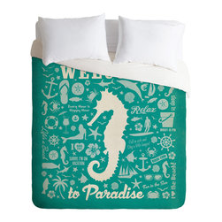 DENY Designs - Anderson Design Group Seahorse Pattern Duvet Cover - Turn your basic, boring down comforter into the super stylish focal point of your bedroom. Our Luxe Duvet is made from a heavy-weight luxurious woven polyester with a 50% cotton/50% polyester cream bottom. It also includes a hidden zipper with interior corner ties to secure your comforter. it's comfy, fade-resistant, and custom printed for each and every customer.