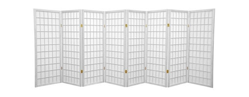 Oriental Furniture - 4 ft. Tall Window Pane Shoji Screen - White - 8 Panels - A traditional Japanese design adapted for the modern home, this four foot tall Window Pane Shoji Screen is a great way to partition a room, direct foot traffic, or add a cosmopolitan accent to a room. The translucent Shoji rice paper panels provide privacy without blocking light, and are fiber-reinforced for extra durability. This elegant, time-tested design complements any style of interior decor.