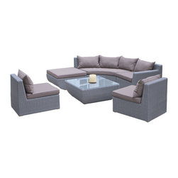 Great Deal Furniture - Lakeshore 7-Piece Sectional Sofa Set - The Lakeshore 7-Piece Sectional Sofa Set allows you to arrange and rearrange your outdoor seating area with ease. Engineered of sturdy powder coated steel frame, woven with element-resistant PE Wicker, and equipped with weather-resistant cushions, you can enjoy your set in any outdoor space. Make the Lakeshore your favorite spot to enjoy time with friends and family outdoors.