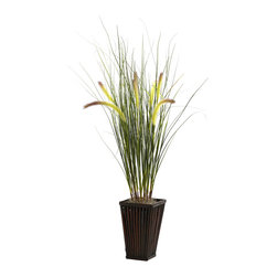 "Nearly Natural - Grass w/Cattails & Bamboo Planter - We love it when grass grows tall. Throw in a few ""cattails"", and you have that perfect ""unspoiled meadow"" look. That's exactly what this piece personifies - the splendor of long, windswept grass, accented by fluffy cattails ready to dance in the breeze. Wrapping this piece up is a beautiful bamboo planter that is a sight on its own. Ideal for both home or office, this lovely piece makes a great gift as well."