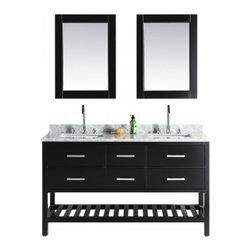 "Design Element - Design Element DEC077C London 61"" Double Sink Vanity Set with Open Bottom - Design Element DEC077C London 61"" Double Sink Vanity Set in Espresso with Open Bottom"