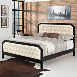 Modway - Tommy Bed Frame - Add a unique sense of style to your bedroom decor with this contemporary Tommy Bed Frame. Simple yet elegant, this bed frame features a sleek black finish and a luxurious tufted ivory upholstery head and foot board.