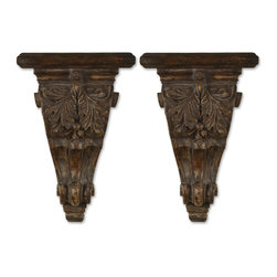 Uttermost - Mora Distressed Chestnut Shelves, Set of 2 - Hang these beautifully carved, distressed shelves on either side of your fireplace mantel and display those Venetian masks you brought home last year. Or bracket a lovely mirror and showcase two vases that have been longing for a home.