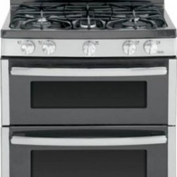 """GE - JGB850SEFSS 30"""" Double Oven Gas Range with Electronic Touchpad Oven Controls  Re - The LE JGB850 30 in 68 cu ft Double Oven Gas Range with Self-Cleaning ovens in Stainless Steel provides that large capacity that is ideal for big meals A 17000 BTU Power Boil burner delivers intense heat for fast boiling The Center oval burner is ide..."""