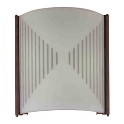 """Volume Lighting - Volume Lighting V6044 11"""" Height Wall Washer Sconce - 11"""" Height Wall Washer Sconce with 2 Lights and Hand Sandblasted with Silkscreen Pattern Glass with Fluorescent G24Q-1 Base LampingAccent your home lighting with this 2 light wall sconce featuring dashing hand sandblasted glass and a functionally energy saving G24Q-1 fluorescent lamping.Features:"""