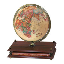 "Replogle - Premier Desktop World Globe - This useful globe-atlas combination offers the ""best of both worlds."" The Premier's stand is home for a hardbound Rand McNally World Atlas and the earth globe itself rests in a calibrated brass-plated full-meridian.  The cherry wood grain base enhances the Premier's rich appearance."