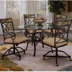Hillsdale Pompei Caster Dining Chair - Set of 2 - Black Gold & Slate Mosaic - Ideal for modern or traditional rooms the Hillsdale Pompei Caster Dining Chairs - Set of 2 feature a unique design you're sure to love. The soft faux-suede seats are generously padded and so comfortable you won't want to get up; full arms and swiveling bases plus durable casters make these chairs ideal for lounging. The sturdy welded steel frames are crafted to resemble the timeless look of wrought iron with a unique black gold finish which highlights the attractive ornamental designs. Mosaic tile detailing at the top of each chair back adds the final touch. This set of two chairs pairs beautifully with other items in the Hillsdale Pompei collection. About Hillsdale FurnitureLocated in Louisville Ky. Hillsdale Furniture is a leader in top-quality affordable bedroom furniture. Since 1994 Hillsdale has combined the talents of nationally recognized designers and globally accredited factories to bring you furniture styling and design from around the globe. Hillsdale combines the best in finishes materials and designs to bring both beauty and value with every piece. The combination of top-quality metal wood stone and leather has given Hillsdale the reputation for leading-edge styling and concepts.