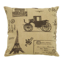 Benzara - Tan Pillow With Paris Tourist Theme - Being one of the most romantic places in all the world, it's good advice to always keep a little bit of Paris nearby inside your home. This pillow features the perfect touch of the full Paris tourist experience, from postcard messages to enchanting carriages and the Eiffel Tower. Build a set of several colors of brown or tan Parisian style pillows.