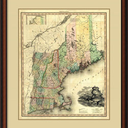Amanti Art - Henry Tanner 'Maine, New Hampshire, Vermont, Massachsetts, Connecticut & Rhode I - Vintage maps are a classic accent that never goes out of style. Whether you are a map lover or wish to document and showcase where you have been (or would like to go), maps make a great addition to any space.