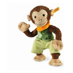 Steiff - Steiff Baby Jocko Monkey - Steiff Baby Jocko Monkey is made of brown and beige plush for baby-soft skin. Machine washable. Handmade by Steiff of Germany.