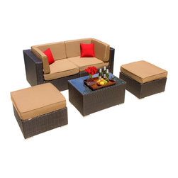 Lakeview Outdoor Designs - Avery Island 2-Person Resin Wicker Patio Conversation Set - With sleek lines and luxurious, deep seating, the versatile Avery Island collection by Lakeview Outdoor Designs will captivate your guests with its high-end style and uncompromising craftsmanship. This chic, low maintenance 5 piece conversation set features a graceful, espresso-colored flat wicker that wonderfully blends with any patio decor or style. The set can seat up to 2 people or use the ottomans as chairs to seat up to 4 people. The plush, deep seats have 5-inch thick canvas camel cushions made with washable, Sunbrella fabric that will not fade in the sun. The top-grade Viro all-weather resin wicker is made using an exclusive technique creating beautiful synthetic fibers that are completely colored throughout and not just on the outside. The superior quality and meticulous construction ensures your furniture will not crack, peel or fade from season to season or in extreme weather conditions (-96 to 176 degrees). The wicker is then hand-wrapped over a hidden, powder-coated and rust-resistant aluminum frame with non-marking, adjustable leveling feet for support and durability. With the included assembly clips, you can attach the sections together or with other Avery Island collection pieces in any arrangement you desire. Dimensions (in inches): Coffee Table: 33 1/2 W X 22 D X 17 H. Corner Chair: 34 W X 34 D X 28 H. Large Ottoman: 34 W X 34 W X 18 H. Seat Height 18. When the sectional pieces are put together as shown, the overall dimensions are 68 X 34.