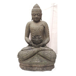 Trade Wind Statues Inventory - 4ft Tall Large Sitting Medicine Buddha Statue Ornate Hand Sculpted Stone with Bowl for Garden Flowers, Indoor/Outdoor Plants, or Incense #566
