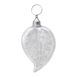 Lazy Susan - Lazy Susan 876015 White Satin Leaf Ornament - Ornaments aren't just for Christmas. At least this one isn't. Hang it from a silken cord on your wall or a light fixture to add a note of drama.