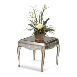 Bassett Mirror Company - Bassett Mirror T1267-200 Collette Mirrored Rectangle End Table - Rectangular End Table in Antique Mirror w/ Gold and Silver Leafing belongs to Collette Collection by Bassett Mirror Company Bassett Mirror is fluent in this art, showing a terrific contemporary furniture that will satisfy on the one hand fans of home coziness, and on the other hand - seekers of non-standard design solutions also. One of the many strengths of the Bassett Mirror is using high quality materials for perfect embodiment of brilliant design ideas. End Table (1)