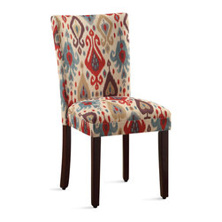 Kinfine - Ikat Patterned Parsons Chair (Set of 2) - These comfortable, homey chairs feature unique upholstery designs in a number of exciting colors. The seat's classic, timeless design make this chair an ideal accent for bedrooms or foyers, while retaining the ability to function as part of a complete dining ensemble.
