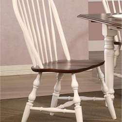 Sunset Trading - Sunset Trading Windsor Spindleback Dining Chairs - Set of 2 - Antique White - SE - Shop for Dining Chairs from Hayneedle.com! Sit down and stay a while - with the Sunset Trading Windsor Spindleback Dining Chairs - Set of 2 - Antique White in your home you'll just want to enjoy your meal as long as possible. The set includes a pair of Windsor-style spindleback chairs with curved comfortable backs and scooped seats. The large backrest and seating area provides an ideal seating solution. Perfectly carved turned legs add to the visual effect. The chairs are made from eco-friendly Asian Ramon hardwood and finished in an antique white color. Dimensions: 20W x 19.5D x 38H inches.About Sunset TradingThis product is designed and manufactured by Sunset Trading. Located in Londonderry New Hampshire Sunset Trading creates high quality furniture for bedrooms living and dining rooms. Their furniture features side roller drawer guides four corner English dovetails solids and veneers. Dining rooms feature epoxy resin constructed chairs with metal support brackets which make their chairs 100 times stronger than glued chairs. Rest assured you're making an excellent choice when you purchase a fine furniture item from Sunset Trading.