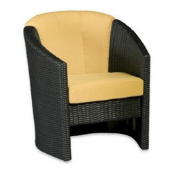 Home Styles - Home Styles Riviera Barrel Accent Chair - The Riviera Accent Chair offers an ideal solution for upscale outdoor furniture. Constructed of ready-to-assemble, durable, synthetic resin wicker in a deep brown color with a gold streak design.