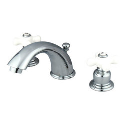 """Kingston Brass - Two Handle 4"""" to 8"""" Mini Widespread Lavatory Faucet with Retail Pop-up - Two Handle Deck Mount, 3 Hole Sink Application, 4"""" to 8"""" Widespread, Fabricated from solid brass material for durability and reliability, Premium color finish resists tarnishing and corrosion, 1/4 turn On/Off water control mechanism, 1/2"""" IPS male threaded inlets with rigid copper piping, Duraseal washerless cartridge, 2.2 GPM (8.3 LPM) Max at 60 PSI, Integrated removable aerator, 5-3/4"""" spout reach from faucet body, 4"""" overall height.; Drip-free washerless cartridge system; Designed for a lifetime of performance; Meets ASME A112.18.1, ANSI/NSF 61 Sec. 9 code; All mounting hardware included; Matching accessories available; Material: Brass; Finish: Chrome; Collection: Magellan"""