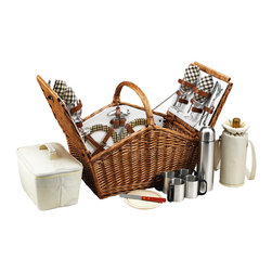 Picnic At Ascot - Huntsman Basket for Four with Coffee Service, Wicker W/London - The Huntsman Picnic Basket has a traditional style.  Hand crafted using full reed willow, this generously sized basket is made to last.  Easy to pack, carry, and enjoy, it includes quality components including ceramic plates and glass wine glasses.  Includes: (4) ceramic plates, glass wine glasses, stainless flatware, cotton napkins, double walled insulated coffee mugs(1) food cooler, insulated wine pouch, hardwood cutting board, spill proof salt & pepper shakers, wood handle cheese knife, stainless waiters corkscrew, and 24oz stainless steel  vacuum flask. Natural Willow with leather straps, closures, hinge covers.