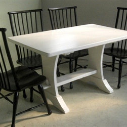 "White Wash Trestle Table From Salvaged Barn Wood - ""Made by www.ecustomfinishes.com"