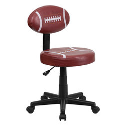 Flash Furniture - Flash Furniture Football Task Chair - Bring your favorite sport to the desk with this Football Inspired Office Chair that is perfect for all young football fans! The uniquely shaped football back makes this chair stand out. This chair is upholstered in vinyl material for easy cleaning. With an affordable price tag it is sure to please the young football fan in your home.