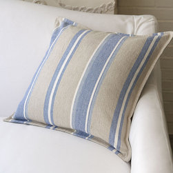 "Ballard Designs - Stonewashed Stripe Pillow - Knife-edge. Plush feather down insert. With its big, casual stripes of soft cornflower blue, cream and natural, our 20"" Square Stonewashed Stripe Pillow has classic charm. It's sewn in 100% cotton for a supple hand and finished with hidden zipper. Stonewashed Stripe Pillow features: . ."