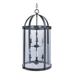 Joshua Marshal - Six Light Bronze Clear Glass Foyer Hall Pendant - Six Light Bronze Clear Glass Foyer Hall Pendant