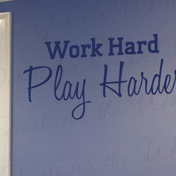 Decals for the Wall - Wall Decal Sticker Quote Vinyl Art Lettering Work and Play Hard Motivational I03 - This decal says ''Work Hard, Play Harder''