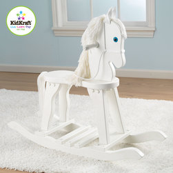 KidKraft - Kids Derby Rocking Horse in White Color - This Derby Rocking Horse in white color is a great gift for the young cowboys and cowgirls in your life. It is made from Heirloom quality, Wool mane and tail, Anti-tip rockers and solid wood.