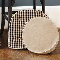 Ballard Designs - Ballard Essentials Round Stool Cushion Cover - Hidden zipper. Custom look. Change covers with the season. You asked, so we've added round covers and inserts to our popular Ballard Basic Cushion collection. Covers are available in all of our most popular basic fabrics. Each is finished with self-piped seams and four sets of ties to hold it in place. Ballard Essential Round Stool Cushion Covers features: . . .