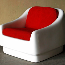 Mod Space Age Chair - We fell hard when we spotted this out-of-this-world Space Age chair. The fiberglass shell is so sleek, so mod, so bright. The piece is in superb vintage condition, with original (and newly-cleaned) cherry red tweed upholstery.