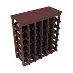 36 Bottle Kitchen Wine Rack in Pine with Walnut Stain - A small wine rack with big storage. This wine rack kit is the best choice for converting tiny spaces into big wine storage. The solid wood top excels as a table for wine accessories, small plants, and wine collectables. Store 3 cases of wine properly in a space smaller than most entry tables!