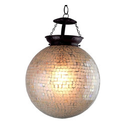 De-Cor - Sphere Chakra Mosaic pendant lantern, Smooth - Artistic pendant lamps with a modern style, this mosaic lamps feature hand-cut glass work in a clear ivory white finish.