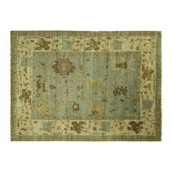 Manhattan Rugs - New Unique Hand Knotted Oushak Baby Blue Wool 10' X 14' Oriental Area Rug H5374 - Oushak rugs originated in the small town of Oushak in west central Anatolia, roughly 100 miles south of the city of Istanbul in Turkey. Oushak has produced some of the most decorative Persian influenced rugs of all times. Oushak has been a production center of Turkish rugs since the 15th century. In the late 15th century the 'design revolution' took place. Before, producing carpets was part of the nomad culture, meeting people's daily needs, but for the first time the works of designing and weaving rugs were split in two. These Turkish rugs began to be produced commercially. From the 16th up to the 18th century the most famous manufacturers of ottoman times worked in Oushak. A special heirloom wash produces the subtle color variations that give rugs their distinctive antique look.