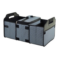 Picnic at Ascot - Trunk Organizer & Cooler Set, Houndstooth by Picnic at Ascot - Organize your trunk and get ready for the outdoors with our black and white houndstooth Trunk Organizer & Cooler Set by Picnic at Ascot. This foldable three-section organizer is equipped with a removable insulated cooler for picnic foods and groceries, while other sections keep sports gear, blankets, towels and other items neat and organized. Two outer pockets are perfect for maps and smaller items.