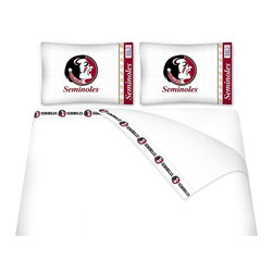 Sports Coverage - Sports Coverage NCAA Florida State Seminoles Microfiber Sheet Set - Twin - NCAA Florida State Seminoles Microfiber Sheet Set have an ultra-fine peach weave that is softer and more comfortable than cotton! This Micro Fiber Sheet Set includes one flat sheet, one fitted sheet and a pillow case. Its brushed silk-like embrace provides good insulation and warmth, yet is breathable. It is wrinkle-resistant, stain-resistant, washes beautifully, and dries quickly. The pillowcase only has a white-on-white print and the officially licensed team name and logo printed in team colors. Made from 92 gsm microfiber for extra stability and soothing texture and 11 pocket. Sheet Sets are plain white in color with no team logo. Get your NCAA Sheets Today.   Features:  -  92 gsm Microfiber,   - 100% Polyester,    - Machine wash in cold water with light colors,    -  Use gentle cycle and no bleach,   -  Tumble-dry,   - Do not iron,