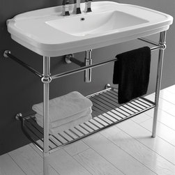 WS Bath Collections - 39.4 in. Washbasin in White - Includes mounting hardware. Chromed brass stand with or without faucet hole. Contemporary style. Designer high end quality. Wall-mount or countertop, over counter installation. Make to highest industry standards. ADA compliant. With overflow. Warranty: One year. Made from ceramic. Made in Italy. No assembly required. 39.4 in. W x 19.7 in D x 33.8 in. H (85 lbs.). Specs sheetArtistic modern ceramic washbasins with the greatest imaginable versatility in appication. Models that adhere to the more current trends of design, harmony and elegance.