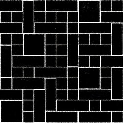 """Susan Jablon Mosaics - Charcoal Black Handmade Glass Tile - This glass tile mosaic is made up of 1"""", 2"""", 1"""" x 3"""" black hand made glass mosaic tiles. If your light or black toned counter top is busy, this will be the perfect touch for your back splash.This glass tile is a charcoal black tone. With it's rustic edges it gives a wonderfully natural, organic feel anywhere it's used. Use these tiles today for your new or remodeled kitchen backsplash, bathroom or any wall in your home or business. It is very easy to install as it comes by the square foot on mesh and it is very easy to clean! About a decade ago, Susan Jablon re-ignited her life-long passion for mosaics and has built a customer-focused, artist-driven, business offering you the very best in glass and decorative tiles and mosaics. We are a glass tile store committed to excellence both personally and professionally. With lines of 100% SCS Qualified recycled tile, 12 colors and 6 shapes of mirror, semi precious turquoise stones from Arizona mines, to color changing dichroic glass. Stainless steel tiles in 8mm and 4mm and 12 designs within each, and anything you can dream of. Please note that the images shown are actual photographs of the tiles however, colors may vary due to the calibration of each individual monitor. Ordering samples of the tiles to verify color is strongly recommended."""