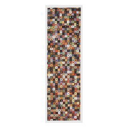"""Trans-Ocean - Mini Squares Jewel 27"""" x 8' Indoor/Outdoor Flatweave Rug - The highly detailed painterly effect is achieved by Liora Mannes patented Lamontage process which combines hand crafted art with cutting edge technology. These rugs are Hand Made of 100% Polyester fibers that are intricately blended together using Liora Manne's patented Lamontage process. They are then finished using modern needle punching and latexing processes that create a work of art that is practical. The flat simple nature of these Lamontage rugs is an ideal base with which to create a rug that is at the same time a work of art. Perfect for any Indoor or Outdoor space, they are antimicrobial,  UV stabilized, and easy care."""