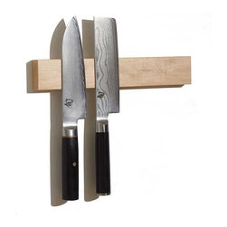 Maple Magnetic Knife Holder by M.O.C. Woodworks - These magnetic wood knife holders are so cool!